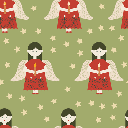 Red angels on green background seamless pattern. Great for invitations, fabric, giftwrap. Surface pattern design. Ilustrace
