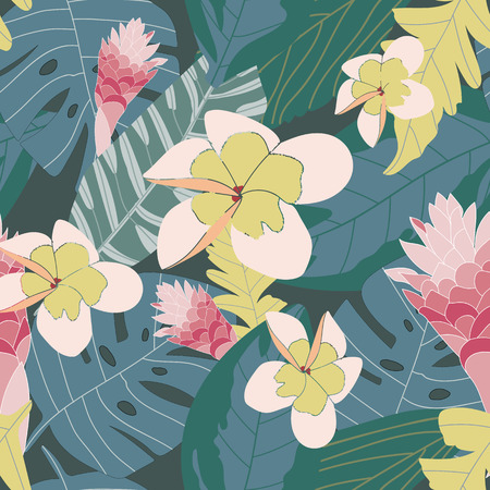Jungle inspired coral pink yellow floral on green background seamless pattern. Modern design great for invitations, fabric, wallpaper, giftwrap. Surface pattern design.