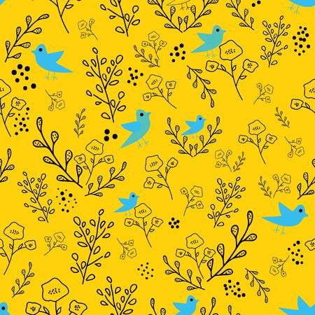 검은색과 파란색 손으로 그린 꽃과 새는 노란색 배경의 매끄러운 패턴입니다. 초대장, 직물, 벽지, 선물 포장, 색칠 공부 페이지에 적합한 기발한 디자인. 표면 패턴 디자인.