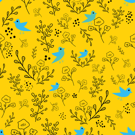 Black and blue hand drawn flowers and birds on yellow background seamless pattern. Whimsical design great for invitations, fabric, wallpaper, giftwrap, colouring pages. Surface pattern design.
