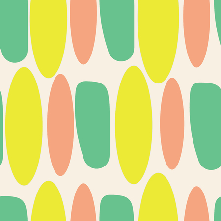 Organic abstract modern yellow green coral ivory seameless pattern.  イラスト・ベクター素材