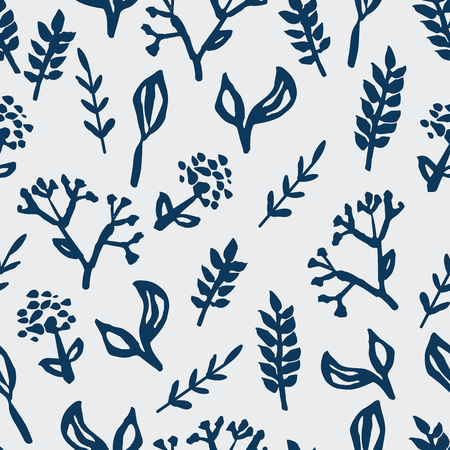 Blue ink hand-painted plants on ivory background seameless repeat. Great for invitations, fabric, wallpaper, giftwrap, scrapbook paper. Surface pattern design.