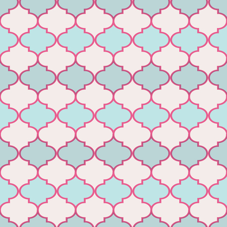 Morocan trelli pink and blue seamless pattern. Great for invitations, fabric, wallpaper, gift-wrap. Surface pattern design.