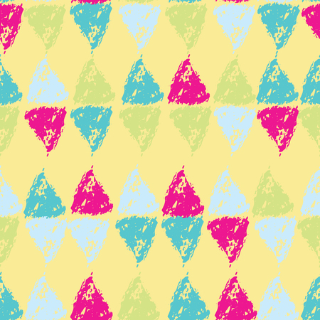Hand painted pastel triangles on yellow background seamless pattern. Ilustrace