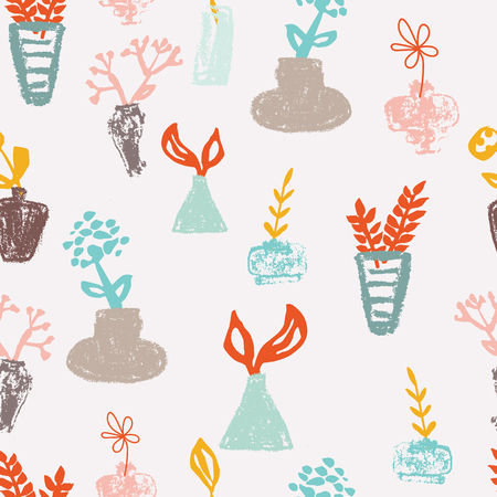Dry pastel vases and ink plants on ivory background seameless repeat. Great for invitations, fabric, wallpaper, giftwrap, scrapbook paper. Surface pattern design.  イラスト・ベクター素材