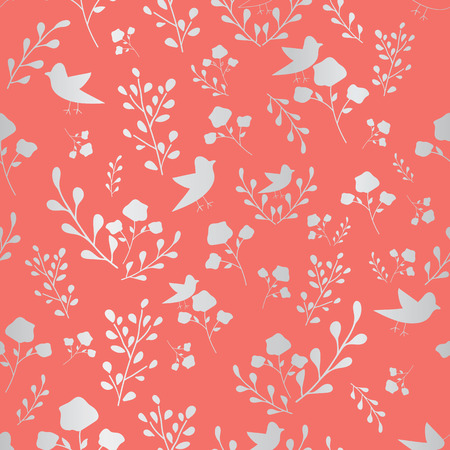 Coral and silver hand drawn flowers and birds seamless pattern. Whimsical design great for invitations, fabric, wallpaper, giftwrap, colouring pages. Surface pattern design. Иллюстрация