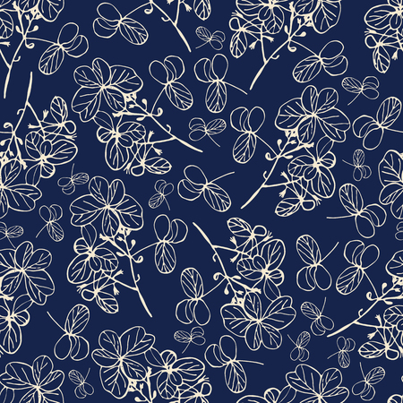 Creme ink hand-sketched dried flowers on indigo background seameless repeat. Great for invitations, fabric, wallpaper, giftwrap, scrapbook paper. Surface pattern design.  イラスト・ベクター素材