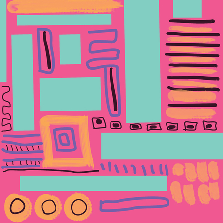 Abstract hand drawn doodle on pink background seameless pattern.