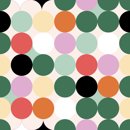 Red green yellow orange lavander indigo circles seamless pattern 矢量图像