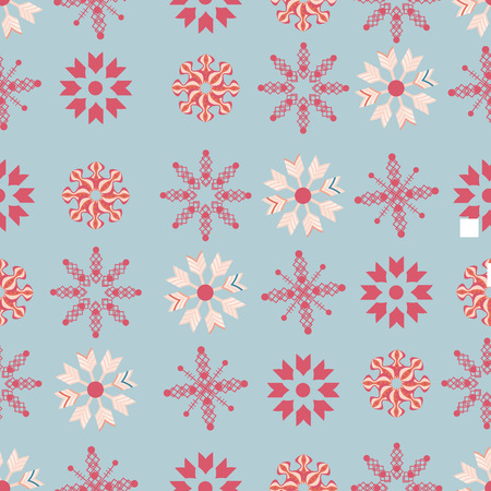 Red and ivory snowflakes on indigo background seamless pattern. Modern and festive design great for invitations, fabric, giftwrap. Surface pattern design.