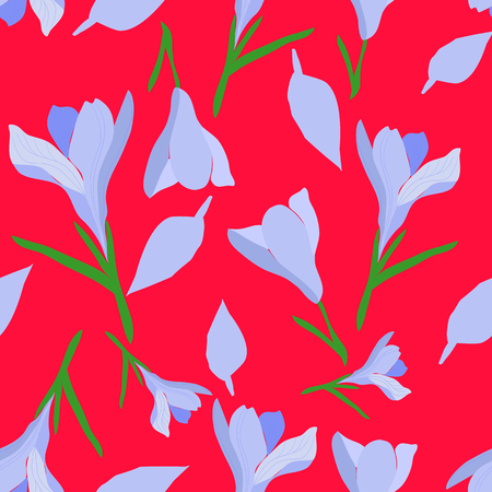 Hand drawn purple crocus on red background seamless pattern. Whimsical design great for invitations, fabric, wallpaper, giftwrap. Surface pattern design. Ilustracja