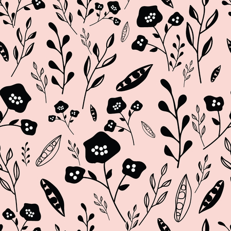 Pink and black hand drawn flowers seamless pattern. Whimsical design great for invitations, fabric, wallpaper, giftwrap, colouring pages. Surface pattern design.