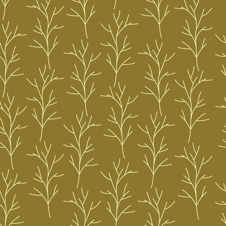 Beige and green hand drawn branches on pink background seamless pattern. Whimsical design great for invitations, fabric, wallpaper, giftwrap, colouring pages. Surface pattern design.