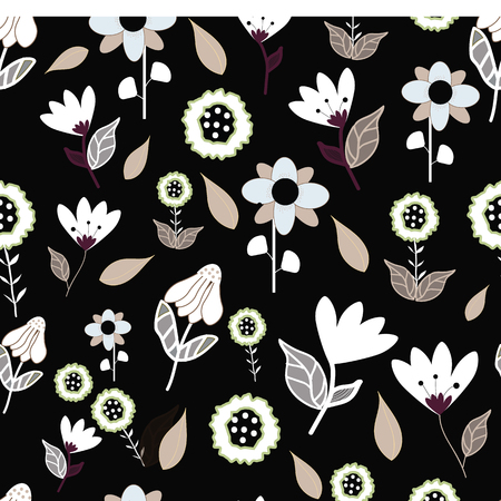 Folk brown blue and white flowers on black background seameless repeat. Great for invitations, fabric, wallpaper, giftwrap, scrapbook paper. Surface pattern design.