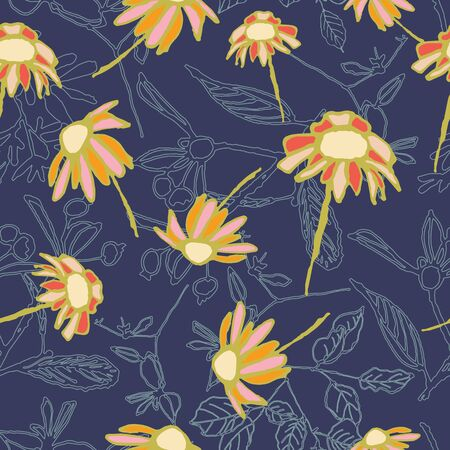 Orange and coral hand drawn flowers on navy lilac textured background seamless pattern. Great for invitations, fabric, wallpaper, giftwrap, scrapbook paper. Surface pattern design. 向量圖像