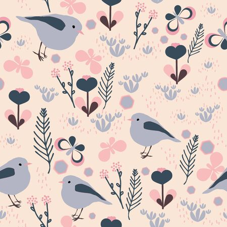 Hand drawn flowers and birds on pink background seamless repeat.