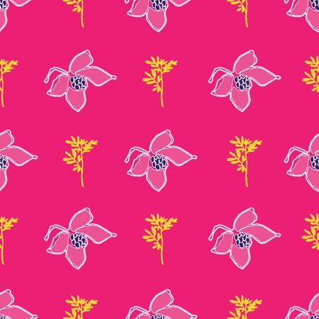 Hand drawn pink and yellow flowers on fuchsia background seamless repeat.
