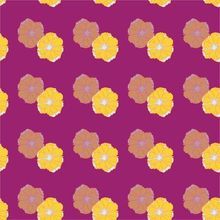 Hand drawn yellow flowers on fuchsia background seamless repeat.