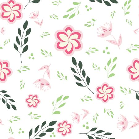 Pink, rose and green stylized flowers and leaves on white background seamless repeat. Ilustração