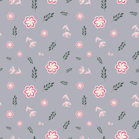 Pink, rose and green stylized flowers and leaves on grey background seamless repeat.