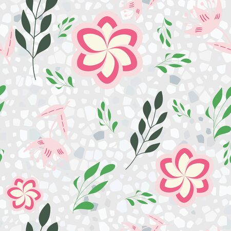 Pink, rose and green stylized flowers and leaves on terazzo background seamless repeat.