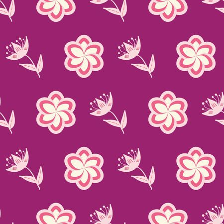 Pink, rose and green stylized flowers and leaves on magenta background seamless repeat.