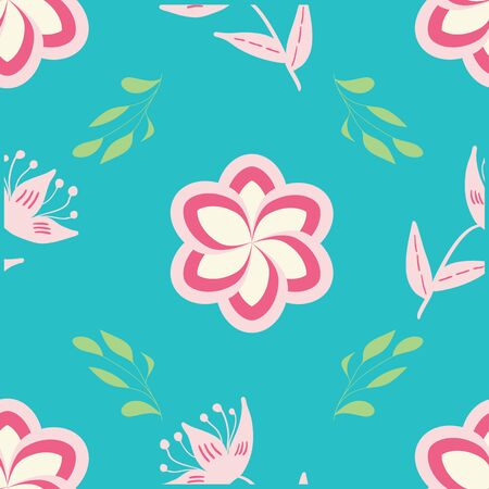 White, rose and pink stylized flowers and leaves on turquoise background seamless repeat.