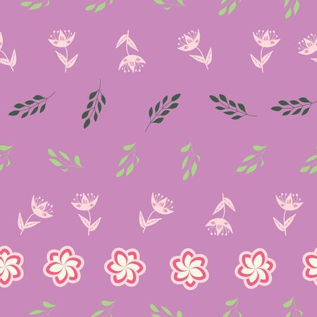 White, rose and pink stylized flowers and leaves on violet background seamless repeat. Illustration