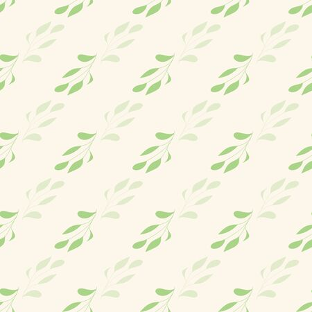 Green leaves on creme background seamless repeat.
