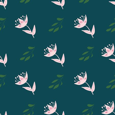 Pink, rose and green stylized flowers and leaves on green background seamless repeat.