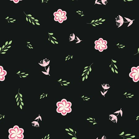 Pink, rose and green stylized flowers and leaves on black background seamless repeat.