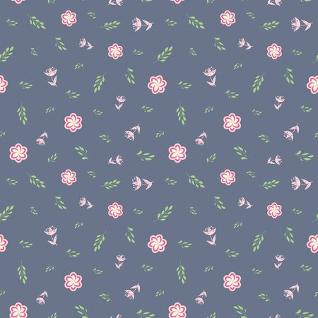 White, rose and pink stylized flowers and leaves on grey background seamless repeat.