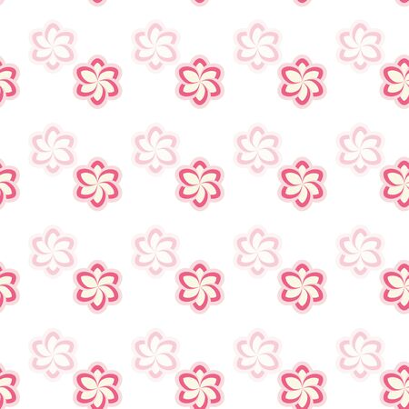 Pink and fuchsia stylized flowers on white background seamless repeat.