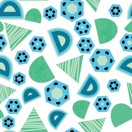Blue, green, navy triangles, circles, hexagons shapes on white background seamless pattern.