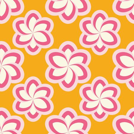 Pink and fuchsia stylized flowers on orange background seamless repeat.