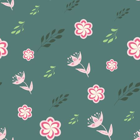 White, rose and pink stylized flowers and leaves on green background seamless repeat.