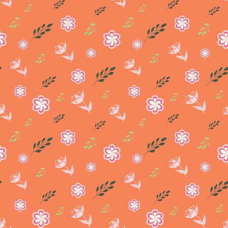 White, rose, pink and green stylized flowers and leaves on coral background seamless repeat.