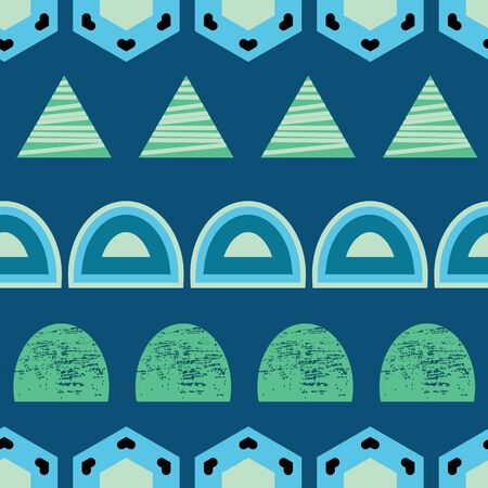 Blue and green organic circular shapes and triangles on blue background seamless pattern.