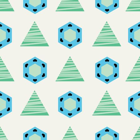 Blue and green triangles and hexagons on beige background seamless pattern. Фото со стока - 129191537