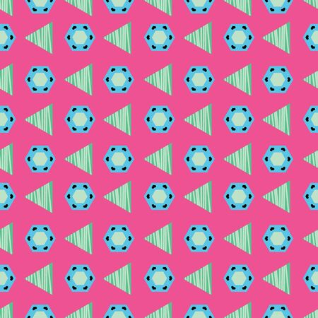 Blue and green triangles and hexagons on fuchsia background seamless pattern.