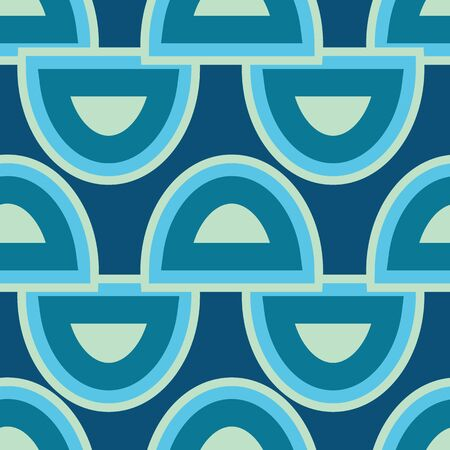 Blue and green organic circular shapes on blue background seamless pattern.