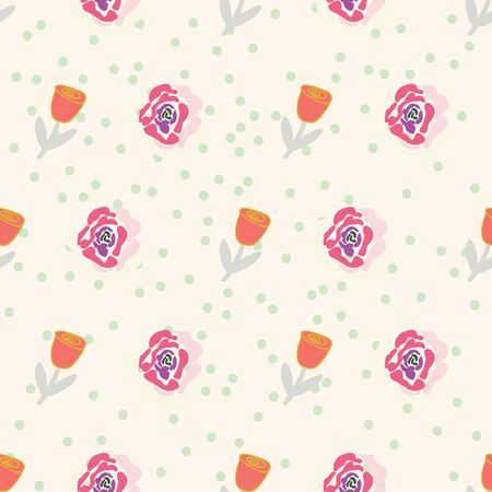 Retro stylized tulips and roses on creme dotted background seamless pattern. Illustration