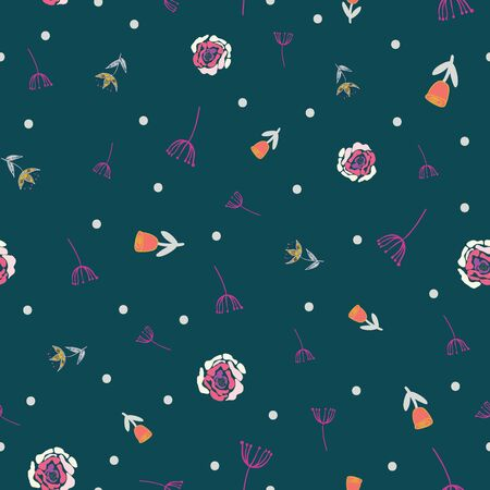 Retro stylized flowers and branches on green dotted background seamless pattern. Modern design great for invitations, fabric, wallpaper, giftwrap. Surface pattern design.