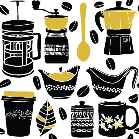 Vector hand drawn coffee lover seamless pattern.