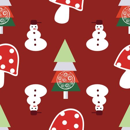 Traditional Christmas Vector Seamless Repeat, Hand Drawn baubles Yuletide Fir Illustration for Home Decor, Stationery, Xmas Decoration, Gift Wrap,Backgrounds. Red maroon white green. Seamless pattern.