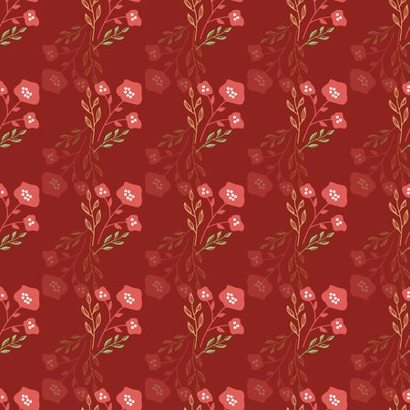 Stylized red, yellow and green flowers on crimson background background. Sketched design great for textiles,garden products, home decor. Seamless pattern