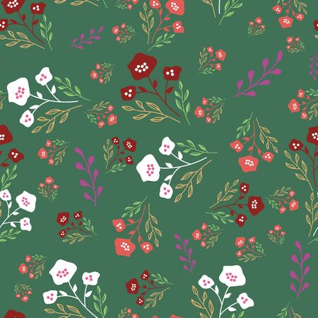 Stylized flowers in red, maroon and mint green on forest green background. Sketched design great for textiles,garden products, home decor. Seamless pattern