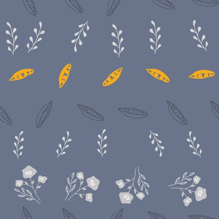 Stylized silver and gold flowers on slate background. Sketched design great for textiles,garden products, home decor. Seamless pattern Ilustrace