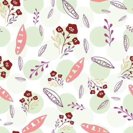 Stylized flowers in pink, maroon and purple on green polka dot background. Sketched design great for textiles,garden products, home decor. Seamless pattern