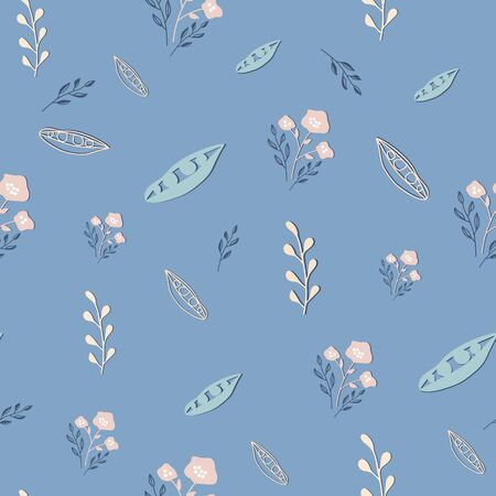 Stylized dusty pink flowers on blue grey background vector repeat. Sketched design great for textiles,garden products, home decor. Seamless pattern